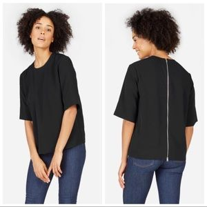 Everlane Black The Japanese GoWeave Back-Zip Tee